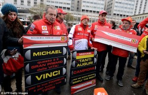 Fans and supporters held a silent vigil as requested by Ferrari, outside the Grenoble hospital on January 3rd, Schumacher's 45th birthday