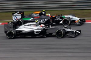 Force India and McLaren are within one point of each other in the Constructors' Championship