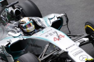 Hamilton pushed hard but could not pass his team-mate